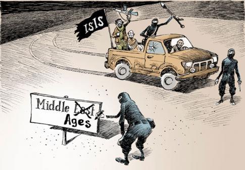 Sur le drapeau : EI. Sur la pancarte : Moyen-Orient ? Non, Moyen-Age. Dessin de Chappatte paru dans l'International New York Times, Paris.