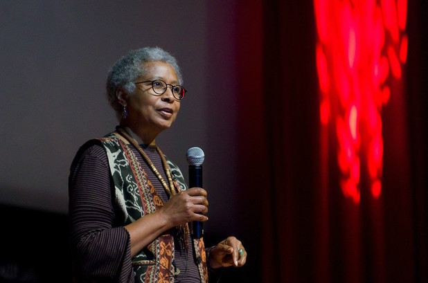 Alice Walker speaks in the occupied West Bank city of Ramallah. (Lazar Simeonov / TEDxRamallah)